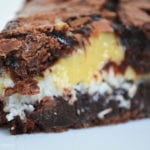 Coconut Caramel Brownie Pie: Rich, decadent and fudgy brownie pie with a sweet coconut and buttery caramel center.
